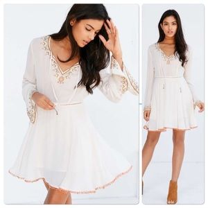 UO Ecote Holly Embroidered Bell-sleeve Dress